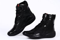 Wholesale Cheap Buckled Boots - Cheap Italian Mens High top Casual Shoes America Cup Men's Black Patent Leather Python Sneakers Boot For Men Mulit Colors