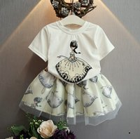 TuTu childrens clothing - 2016 Girls Cute Cartoon Charcter Printed Two Pieces Set Childrens Summer Clothing Short Sleeve Cotton T shirt And Tutu Skirt Set