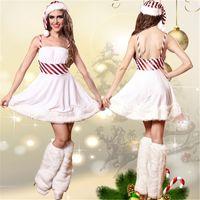 adult princess outfits - Women Sexy Christmas A line Dresses White Velvet Wrap Chest Dress Adult Santa Beauty Outfits Xmas Snowman Princess Elfin Theme Costumes