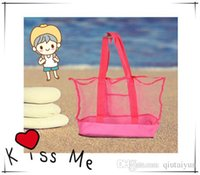 Wholesale 2015 Lowest price large sand away Mesh Beach Bag Children Beach Toys Clothes Towel Bags baby toy collection bag IN stock P B146