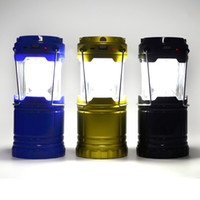 Wholesale Camping Lantern Rechargeable LED Solar Lamp Camp Portable Night Light Flashlight Powered for Camping Hiking Fishing Android iPhone DHL