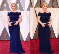 Patricia Arquette 88 o Oscar vestidos de la celebridad de 2016 de los vestidos de noche del hombro del azul real del arco de la envoltura de la alfombra roja de los vestidos largos personalizados