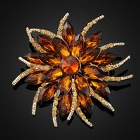 amber brooches - European and American big wealthy collar flower pin brooch large crystal brooch female Korean fashion jewelry birthday gift