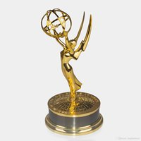 Wholesale Emmy Trophy Full Size cm Hight Emmy Award Trophy Replica TV Movie Trophy Emmy Awards Zinc Alloy Trophy Souvenirs Collectibles