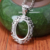 Wholesale Art Nouveau x18mm Oval Cabochon Semi Mount Pendant Setting Sterling Silver Plated White Gold Generous Jewelry