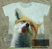 Cheap Track Ship + New Vintage Retro Rock&Roll Punk T-shirt Top Tee Cute Yellow Fox Thirst Try Rain Water Rainfall Rainwater 0035