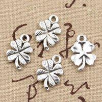antique irish necklace - Cents Charms lucky irish four leaf clover mm Antique Making pendant fit Vintage Tibetan Silver DIY bracelet necklace