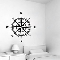 Wholesale Fashion compass pattern art wall decal nautical removable home decor living room bedroom wall sticker sale