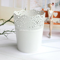 Wholesale 1pcWhite Iron Wrapped Hollow out Design Flowers Vase Artificial Flowers Storage Home Decoration cm