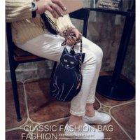 Fille chat cru France-Vintage Forme épaule Cat Cartoon Sac enfants Femme chaîne Messenger Sacs en cuir PU Fille Crossbody Voyage sac à main RD674543