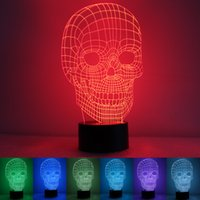 Wholesale Foreign direct skull D creative colorful Nightlight acrylic LED USB charging lamp