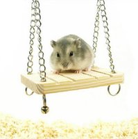 Wholesale Wooden Bell Swing Suspension Hanging Cage Toys Parrot Hamster Suits for hamsters rats parrots small birds to play