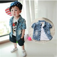 Wholesale 2016 New Fashion Kids Clothes Baby Boys Shirts Gradient Color Long Sleeves Tops Children Clothing Kids Boys Denim Shirts