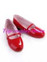 anko cosplay - Kitashirakawa Anko pu Leather Red Cosplay Shoes NC129 Halloween Christmas festival shoes boots
