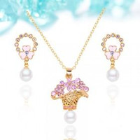 allergy necklaces - Korea style new floret set crystal pearl necklace earrings jewelry set Europe and America top brand accessories Gold plated allergy free