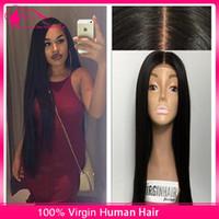 silk top full lace wigs - 8A Brazilian Silk Base Lace Front Human Hair Long Wigs For Black Women Silky Straight Silk Top Glueless Full Lace Wigs Density