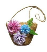 Wholesale Beach straw bag with floral rattan handbag for lady shoulder bags crossbody bag new popular in