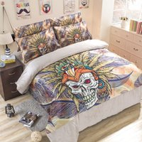 Cheap Free shipping 100% cotton bed cover home textile 3 4 piece skull bedding sets