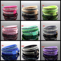 Wholesale 2016 latest design Fashion Charm Bracelets multilayer Wrap Bracelets Slake Deluxe Leather Bracelets for women With Crystals Couple Jewelry