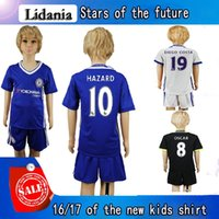 Wholesale Kids chelsea HAZARD DIEGO COSTA OSCAR kids soccer sets Blue Force shirt football children kit top quality