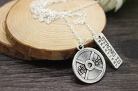 beautiful strength - antique silver plated Vintage Circle LBS KG Weight Plate and quot Strength is beautiful quot sports charm necklace