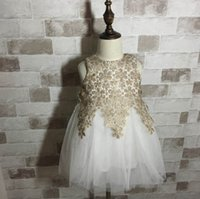 best fall clothes - Best Sell Princess Girls Fall Party Dresses Golden Lace Kids Clothes TUTU Dress Children Clothing K8097