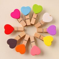 Wholesale 2014 candy color heart shape Lovely wooden clip memo clip photo clip bookamarks