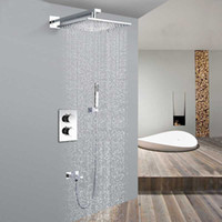 Wholesale Square quot stainless steel Thermostatic Shower mixer with spout and shower holder Shower Set SS012