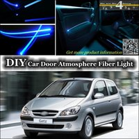 Cheap interior Ambient Light Tuning Atmosphere Fiber Optic Band Lights For Hyundai Getz Prime Click TB Brisa Inokom Door Panel illumination Refit