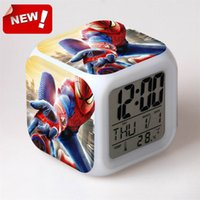 amazing alarm clock - America hero spider man peripheral products the amazing Spider Man character model LED colorful touch alarm clock digital desk and table
