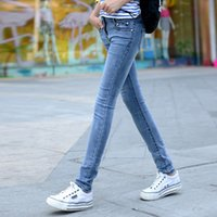 Wholesale 2016 women s jeans female feet pencil pants Slim was thin light of the new Four Seasons fashion denim trousers Ms Slim