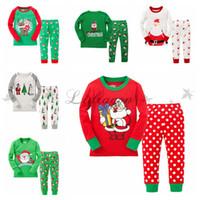 Wholesale Fashion Cute Baby Cotton Long Sleeve Girls Boys Kids Children Clothing Sets Suits Pajama Piece Sleepwear Christmas Snow Sleepwear Z366
