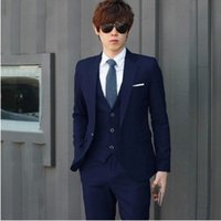 Wholesale classic men suits tuxedos for men notched Lapel men Wedding suits grooms suits three piece Suit Jacket Pants vest color
