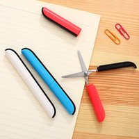 Wholesale pc fashion portable safety scissors with cap pocket style tesoura x13 x10 mm colors Deli