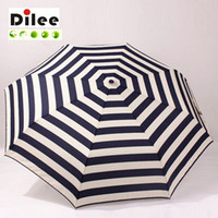 Wholesale Good quality are three times the design of automatic windproof navy blue striped umbrella rainy sunny folding umbrella woman dl16911
