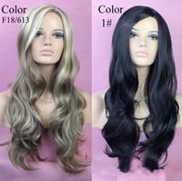 Wholesale 2 colors hot sale Long Layes Wavy Fox Red Jet Black Blonde mix Ladies Wig Heat Resistant Long Wavy Ladies Wigs curly wigs