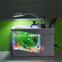 aquarium led lights for sale - Hot Sale Black White Digital Fish Tank Aquarium with LED Light USB Desktop Fish Tank Aquarium for Home Holiday Decoration