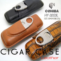 cigar humidor - Cohiba Leather Travel Cigar Case Tube Humidor With Cutter Set