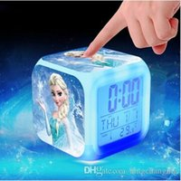 Wholesale New Arrival Princess Elsa Anna Olaf Alarm Clock With Changing Colors Cute Cartoon LED Clock