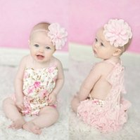 Wholesale Lace Floral Baby Romper Newborn Bodysuit flower printed Rompers Baby Girls Leopard Jumpsuit babies clothing Infant one piece