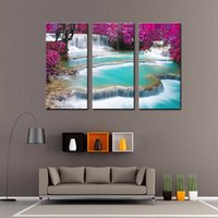autumn leaves paintings - LK3213 Panels Natural Landscape Paintings Wall Art Waterfall And Red Fallen Leaves In Autumn Wall Art Modern Pictures Print On Canvas Pai