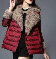 Wholesale Womens Winter Faux Fur Coats Jackets Gray Outwear With Pockets Long Sleeve Crew Patchwork Red Jacket Warm Down Coat Elegant Overcoats