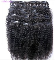 clip in curly hair extension - New Clip In Human Hair Extensions Brazilian Mongolia Natural Black Color B Afro Kinky Curly g set Full head