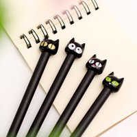 Wholesale 2016 new style mm Novelty Black Cute Cat Gel Ink Pen Promotional Gift Stationery School Office Writing Pens