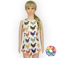 baby chickens sale - Hot Fashion Baby Girl Summer Romper Baby Chicken Pattern Pom Pom Romper Kids Rompers Clothes On Sale In China