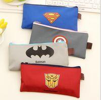Wholesale Children Pencil bags Superman Batman Captain America Transformers Zipper Pencils Box Stationery Bag Storage Pencil Cases School Supplies