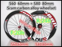 Wholesale Carbon Bike Wheel Sram Hub - Red-White logo Sram S60+S80 60+80mm bike carbon alloy wheelset 3K 23mm width Road bicycle carbon alloy wheels A271 hub z01 free shipping