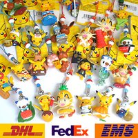 Wholesale 2016 New Poke Go Elf Pikachu Cell Phone Straps Keychain Charm Universal Phone Mobile Lanyard Hanging Pendant PVC Key Rings Toy Gifts WX K25