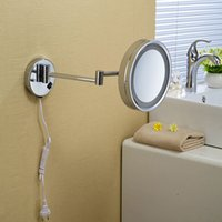 bath mirror with lights - High quality Brass one side bathroom wall mounted round led cosmetic makeup mirror With lighting Mirror Bath accessories2098