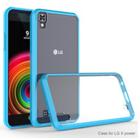 Pour LG X Puissance Volt 3 K210 K6 K6P Boost Mobile couvrir ultra-mince invisible tpu + pC cristal acrylique shell fixe manchon de protection Téléphone portable